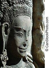 sculpté, apsara, siem, récolter, cambodge