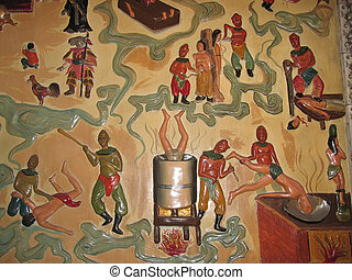 Sculpted and painted wall in a buddhist temple showing torture - Manado - Sulawesi island - Indonesia.