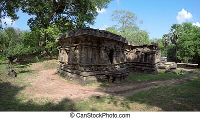 Sculpted Facade of Ancient Ruins in Polonnaruwa, Sri Lanka -...