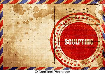 sculpter, grunge, timbre, arrière-plan rouge, poste aérienne