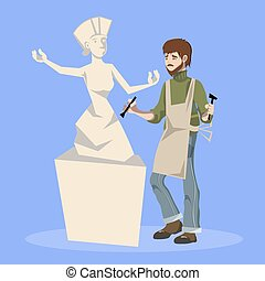 Sculptor holding chisel and hammer