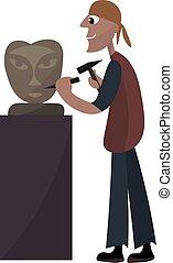 Sculptor working, illustration, vector on white background.