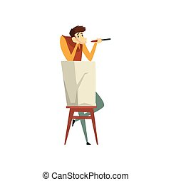 Sculptor working on his sculpture, talented male carver character, creative artistic hobby or profession vector Illustration on a white background