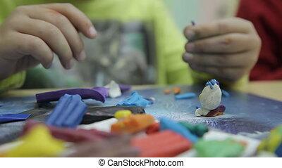 sculpts, sculpture, enfant, coloré, argile, fait