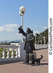 "Sculptura ""The old light keeper"" on the promenade of the resort Gelendzhik, Krasnodar region, Russia"