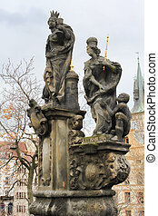 Sculptural composition on the Charles Bridge: St. Margaret, Varvara and Elizabeth