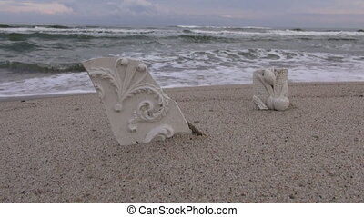 Sculptural plaster cast on beach in sand - Rustic broken...