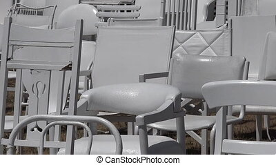 sculpture, 185, vide, chaises, blanc