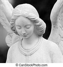 sculpture, ange, gros plan, ailé