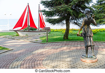 "Sculpture ""Assol"" and landscape composition ""Sailboat"" on Gelendzhik promenade"