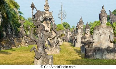 Sculpture Buddha Park (Xieng Khuan). Vientiane, Laos - 1080p...