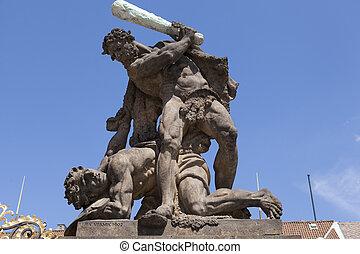 Sculpture by the gate of Prague castle