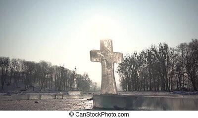 sculpture, croix, glace