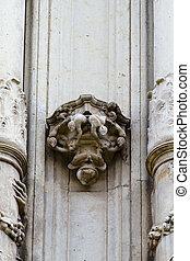 Sculpture, facade of the University of Alcala de Henares, Madrid, Spain