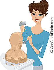 Illustration of a Girl Working on a Sculpture