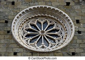 sculpture glass a in the center of corniglia italy