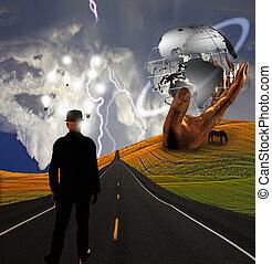 sculpture, idées, paysage, homme