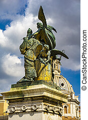View at sculpture Il pensiero by Giulio Monteverde at Monument of Vittorio Emanuele II in Rome, Italy