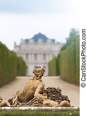 Sculpture in garden of Versailles. - Classic sculpture in...