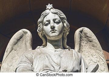 sculpture., künstler, engelchen, unbekannt, traurige ,...