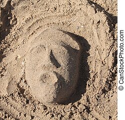 sculpture, la, mer, plage, sable