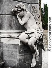 sculpture marbre, ange, à, buenos aires, cimetière
