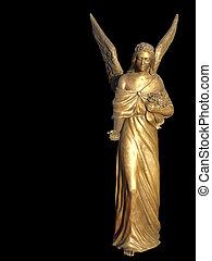 sculpture., nero, isolato, angelo, offerta