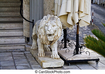 sculpture of a lion at the Turkish hotel