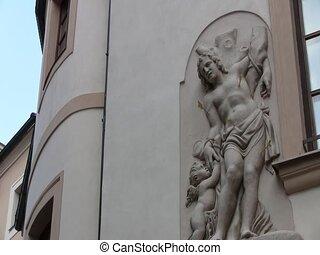 Sculpture of a man in Prague