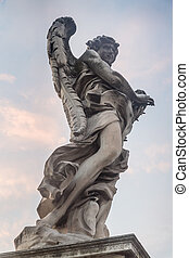 Sculpture of an angel on the bridge of Sant'Angelo in Rome, Italy