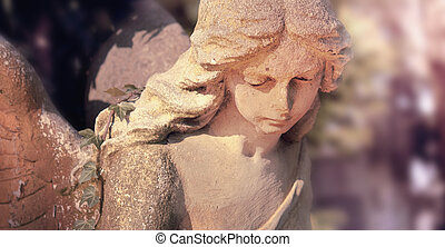 sculpture of an angel (styled vintage)