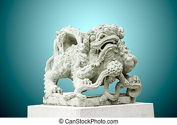 Sculpture of Chinese lion, Antique traditional stone carving doll