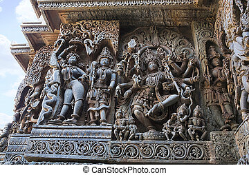 Sculpture of dancing Shiva, Hoysaleshwara temple, Halebidu, Karnataka. view from West.