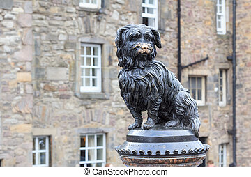 Sculpture of Greyfriars Bobby, a Skye Terrier who in the...