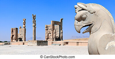 Sculpture of griffin and Gate of All Nations, Persepolis, Iran