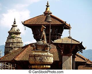 Sculpture of King Bhupatindra Malla - Bronze sculpture of...