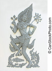 Sculpture of Thai angel - She is angel of Thai tale in...