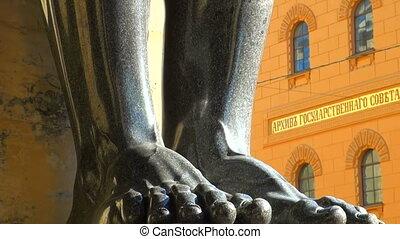 Sculpture of the Atlanteans in St. Petersburg
