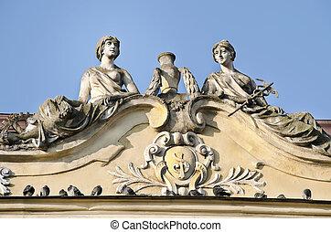 Sculpture of two women, Lviv