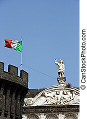 Sculpture on a castle building in Naples. Italy.