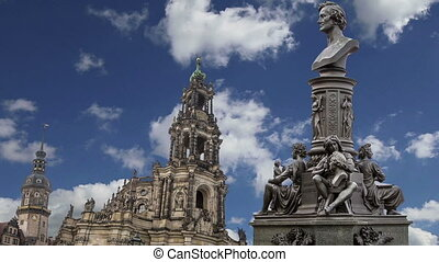Sculpture on the Bruhl Terrace and Hofkirche or Cathedral of...