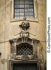 Sculpture on the facade of the cathedral. Lviv, Ukraine