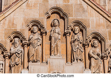 Sculpture on the facade of the Church of Jak in the City...