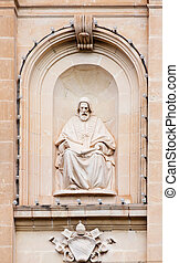 Sculpture on wall of church
