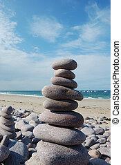 sculpture, plage, caillou