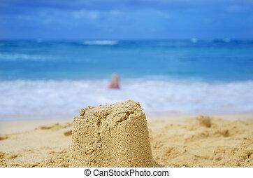sculpture, plage, sablonneux
