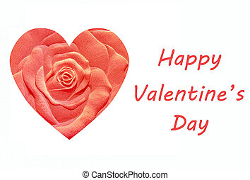 Sculpture rose of valentine's day isolated on white background