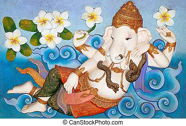 Sculpture sandstone of ganesha isolated on white background....