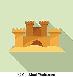 sculpture, style, sable, icône, plat, château