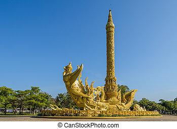 sculpture, thaï, bougie, art